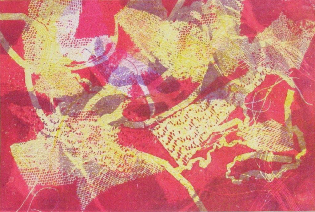 Lover's Lace, framed 8x10 monotype on paper, $95