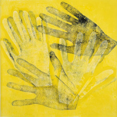 Helping Hands I, monotype, 12x12, matted $125