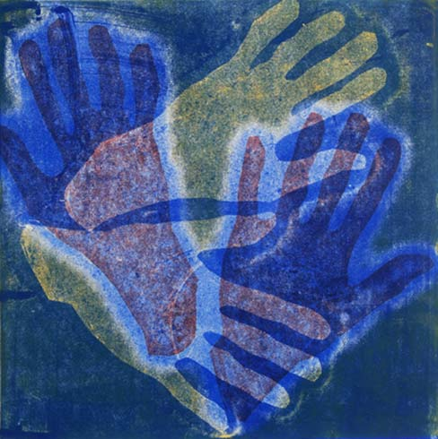 Helping Hands II, monotype, 12x12, matted $125