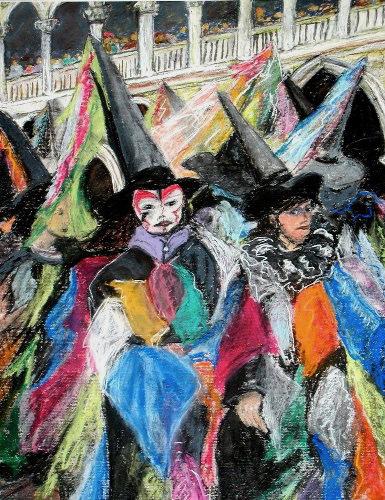 Venice Carnival, pastel on paper framed, 31 x 24, $295.