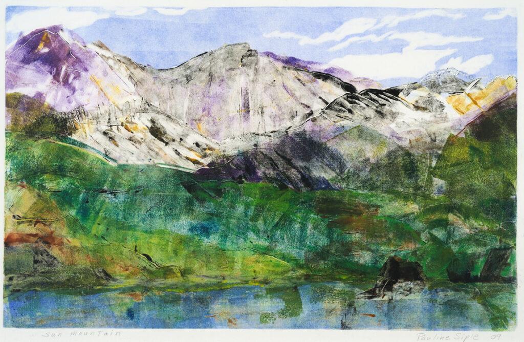 """Sun Mountain,"" 10 x 15, monotype, matted 18 x 23, $115"