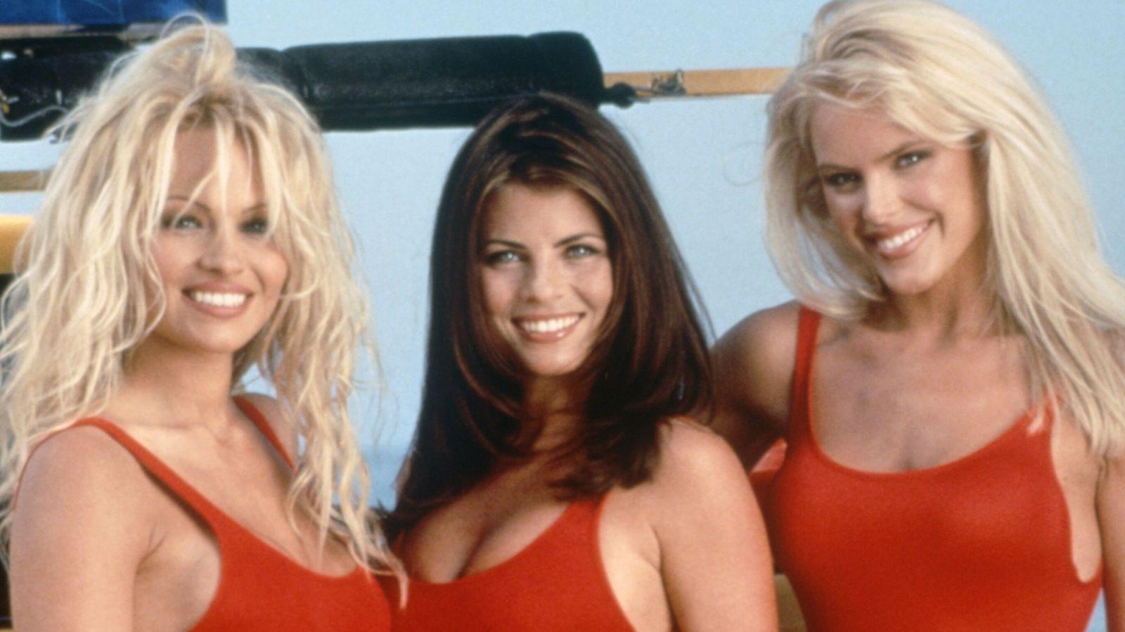 Baywatch made stars of (L-R) Pamela Anderson, Yasmine Bleeth and Gena Lee Nolin. Pic: Fremantle Media