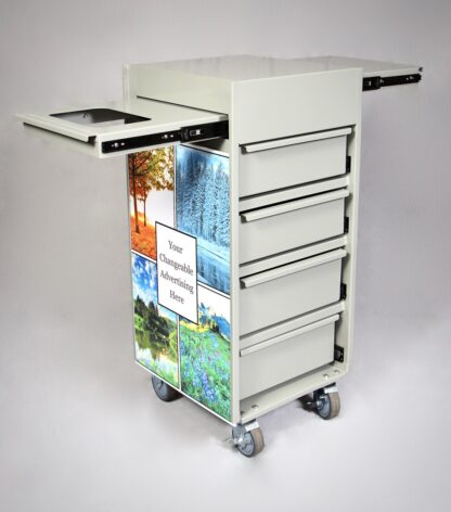 workstation sideview with top shelf extended