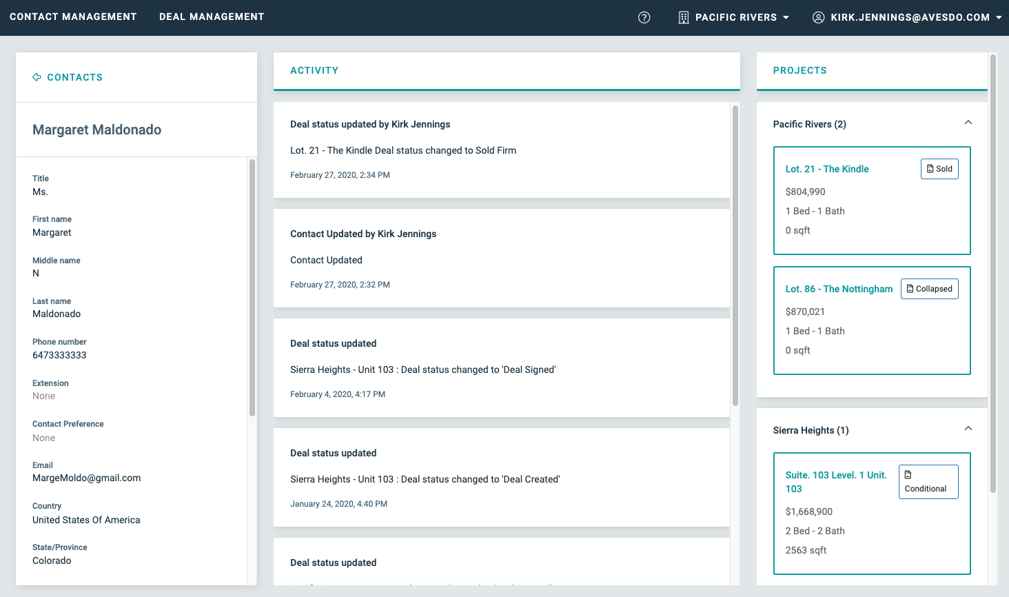 View of Document Management Dashboard