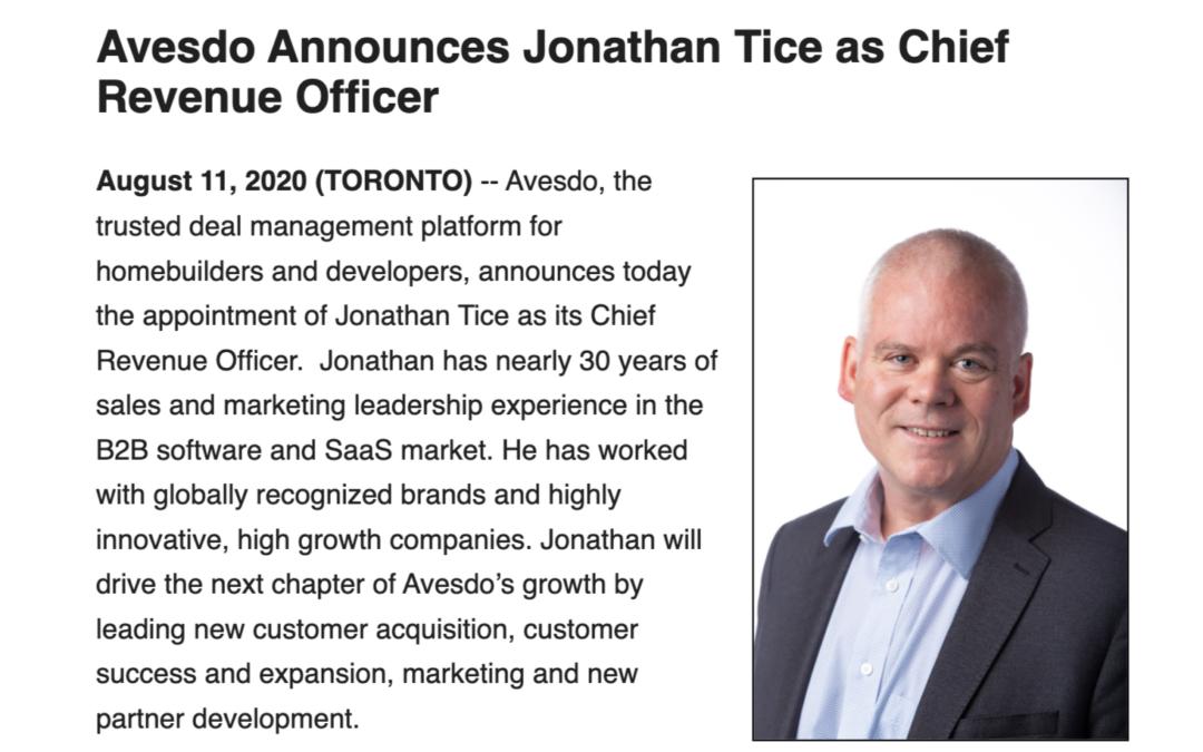 Avesdo Announces Jonathan Tice as Chief Revenue Officer