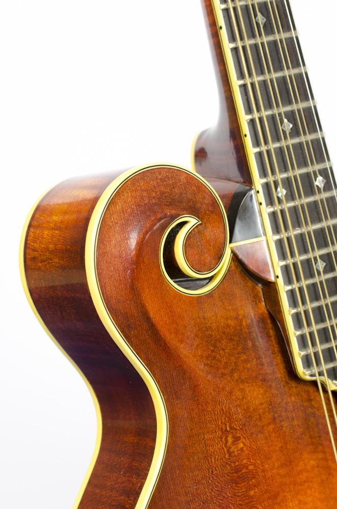 David Dart F5 Mandola fingerboard & upper bout scroll