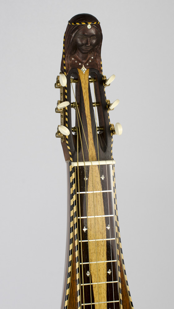 "David Dart Hand-Carved & Inlaid ""Lady Steel"" peghead (mahogany, abalone, ebony, & boxwood), from a Bowlback Steel Guitar"