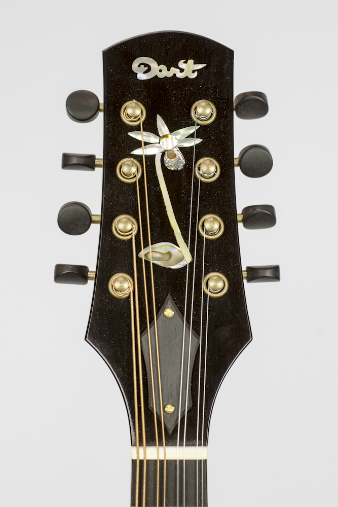 David Dart Calypso Orchid peghead inlay, from a Redwood A5 Mandolin
