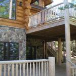 log home decks log railing