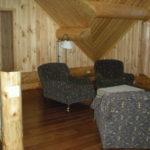 loft sitting area, logs, hickory floors