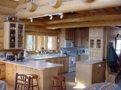 Kitchen, log beams, cedar log home