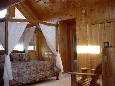 Loft bedroom, scribed cedar log home