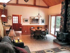 dining area douglas fir stone ceramic tile floor