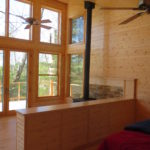 pine paneling lake windows