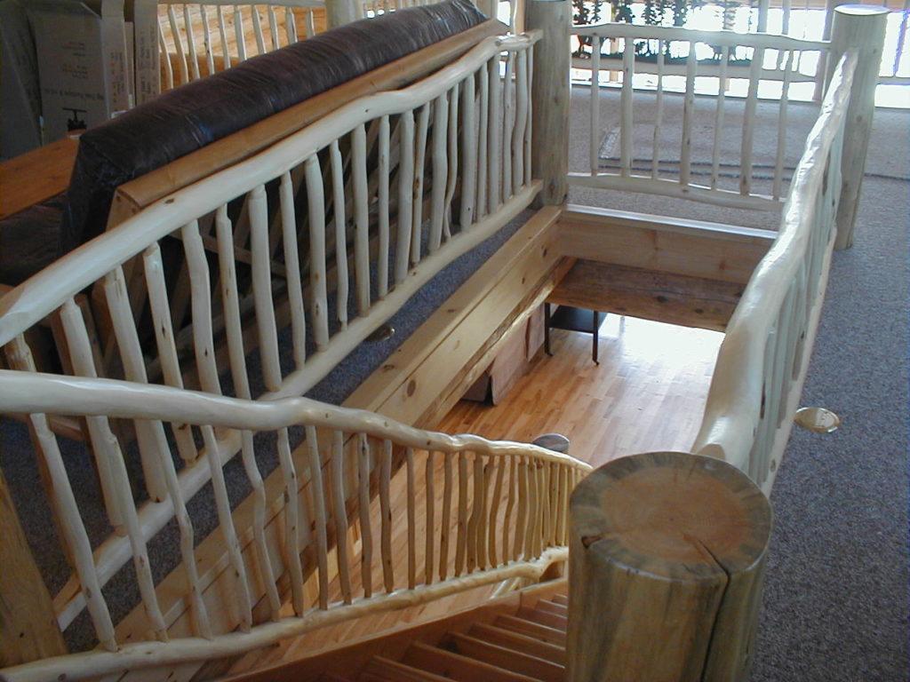 Log stairs, rustic log railing