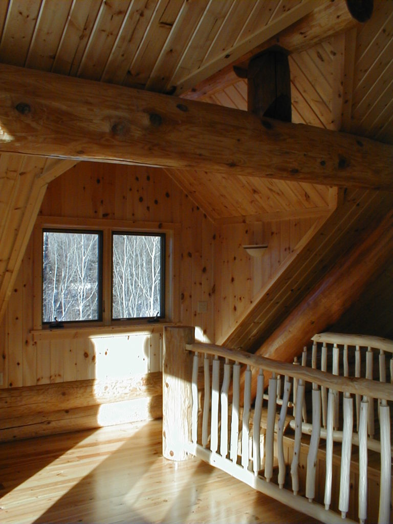 Log cabin loft, aspen log railing