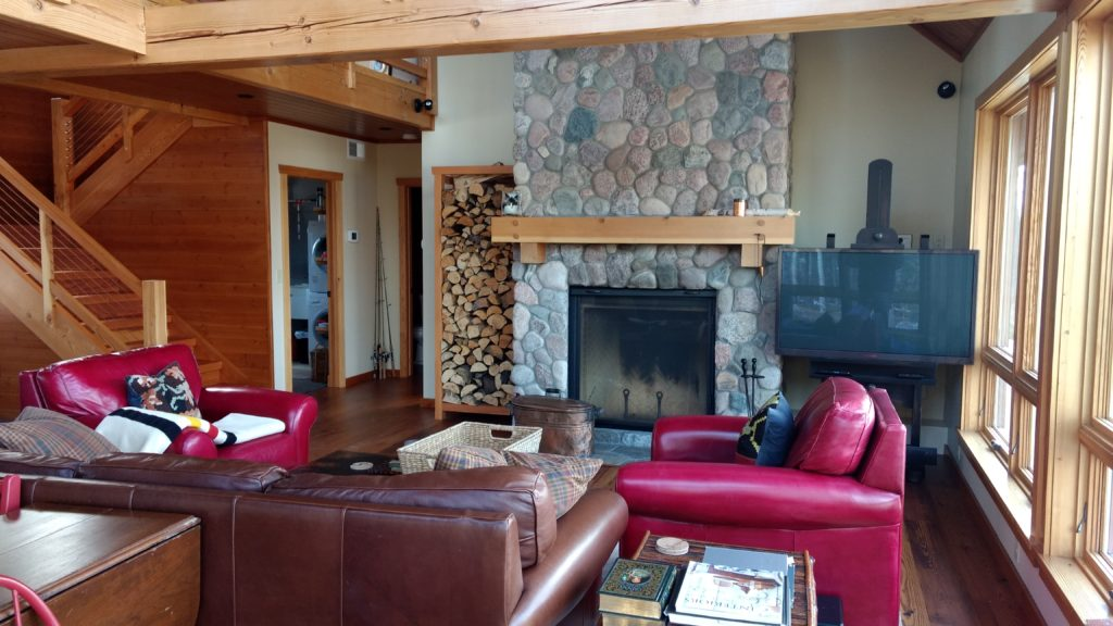 Greatroom, stone fireplace