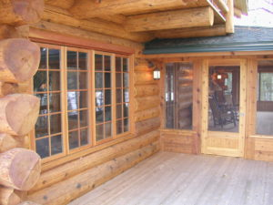 Cedar Logs, deck and screen porch
