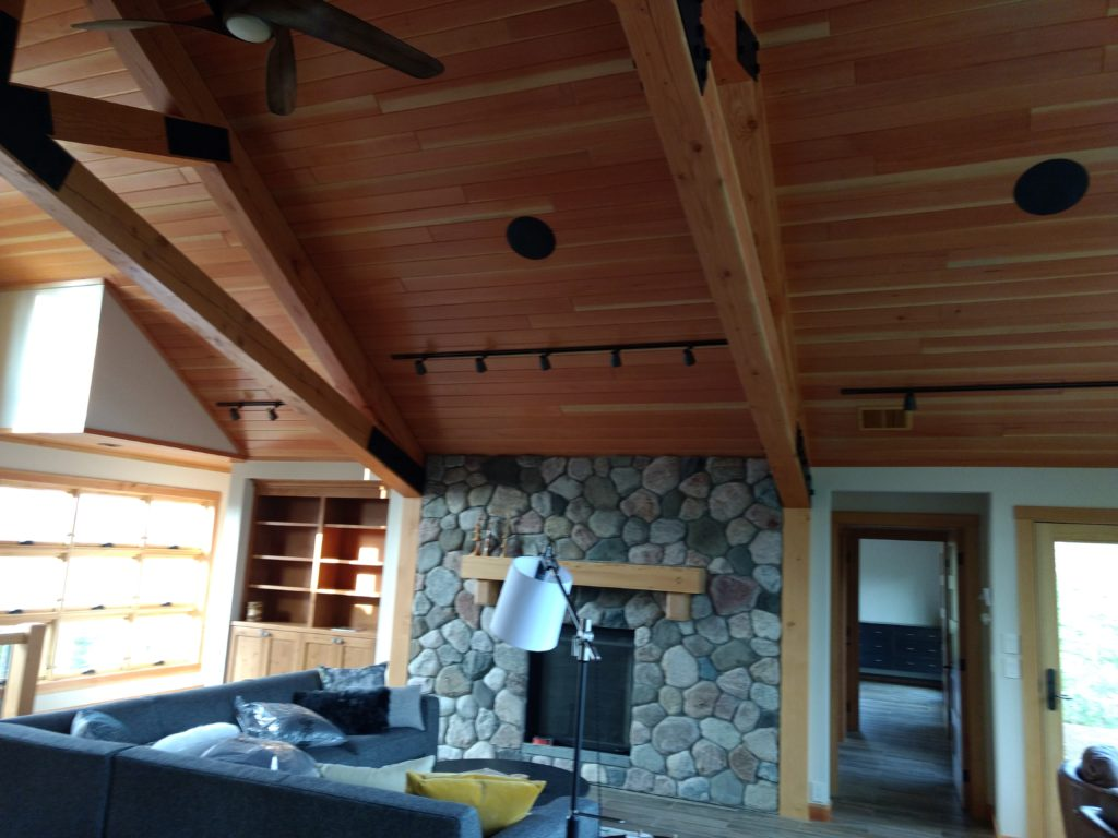 Douglas fir ceilings, stone fireplace