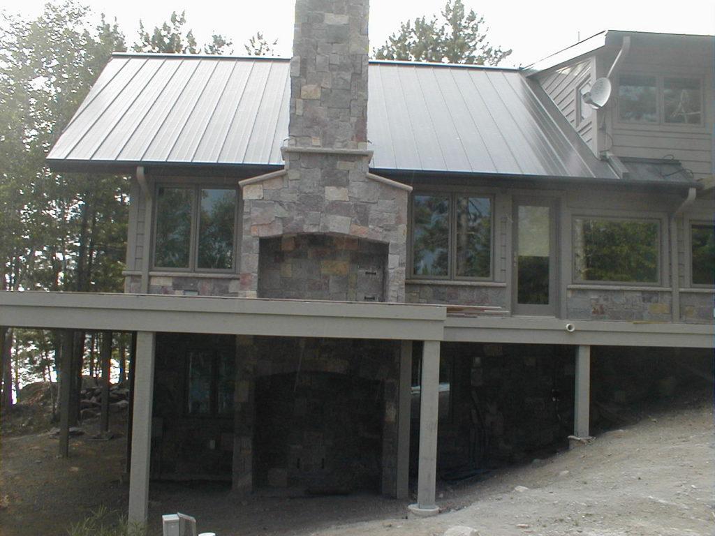 Cedar and stone lake home