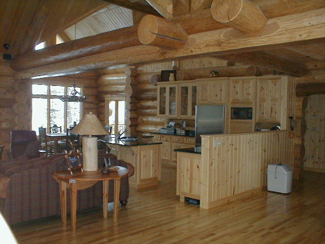 Pine cabinets, kitchen in log home