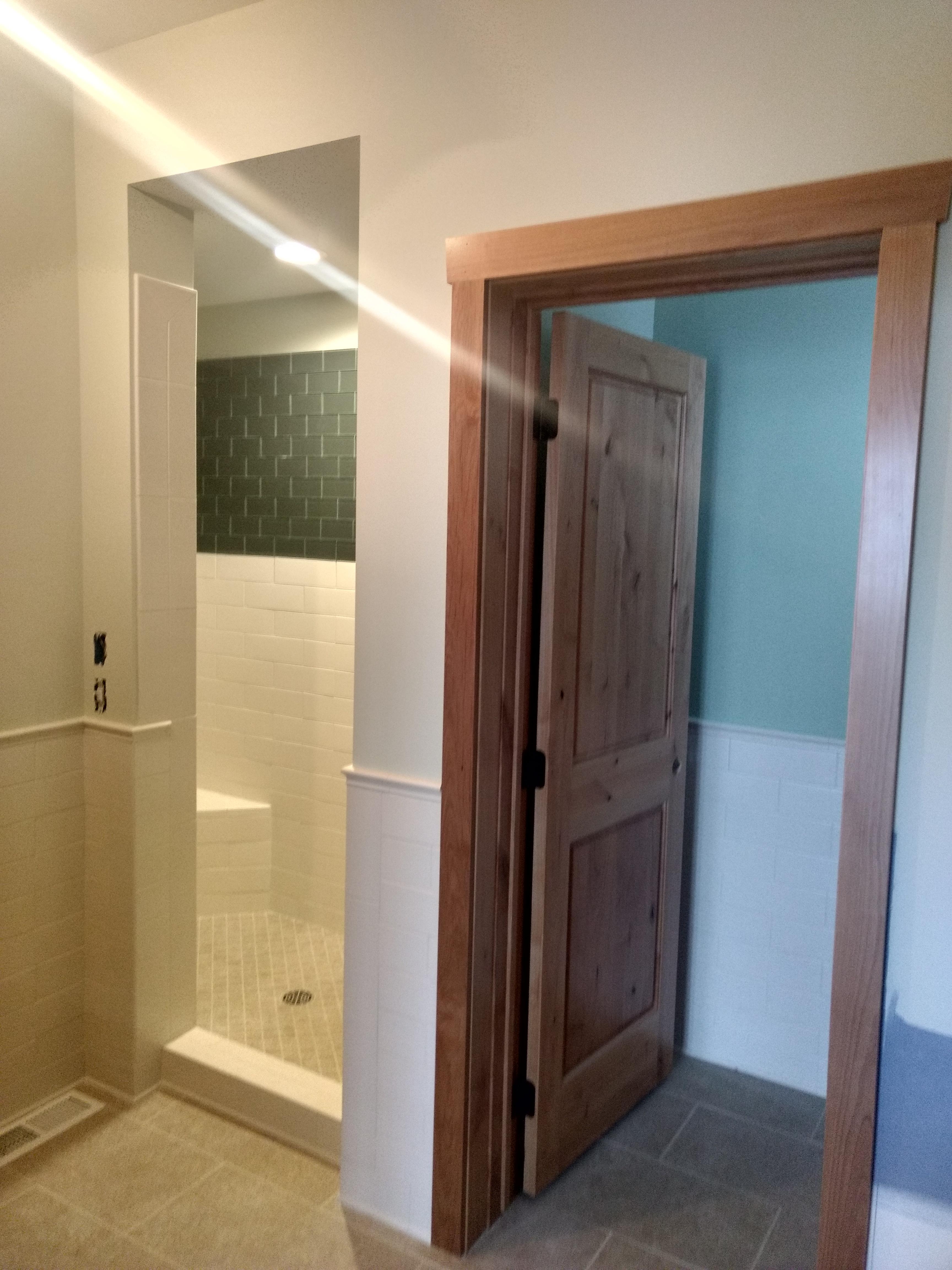 Guest bath shower, ready for glass door