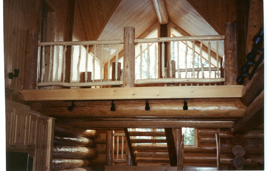 Loft windows, stairs, log home