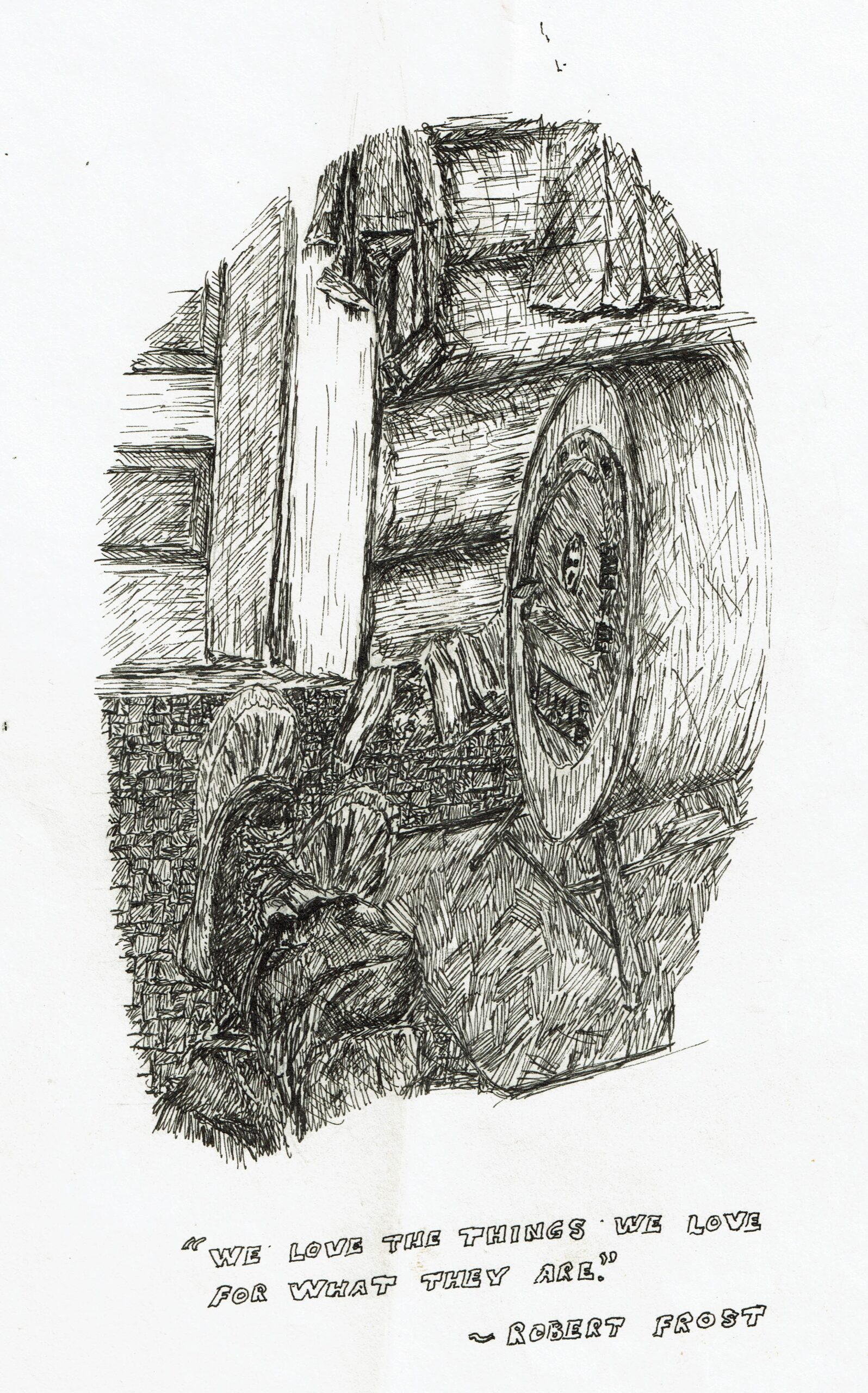Buyck log cabin, ink drawing, barrelstove