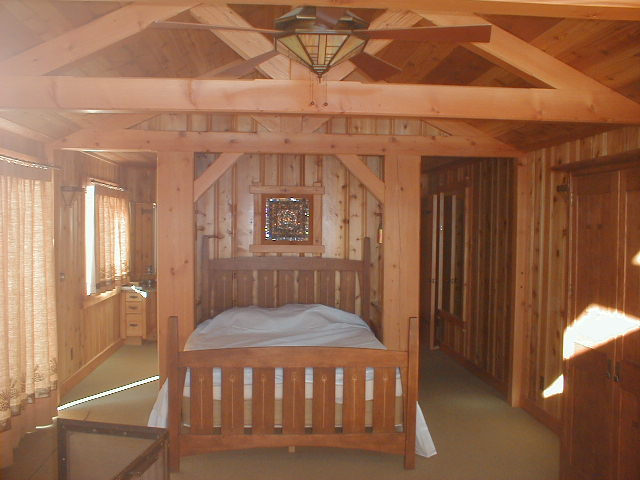 Custom milled cedar paneling and doug fir timber trusses