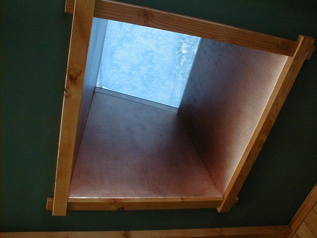 Custom copper work on skylight tunnel