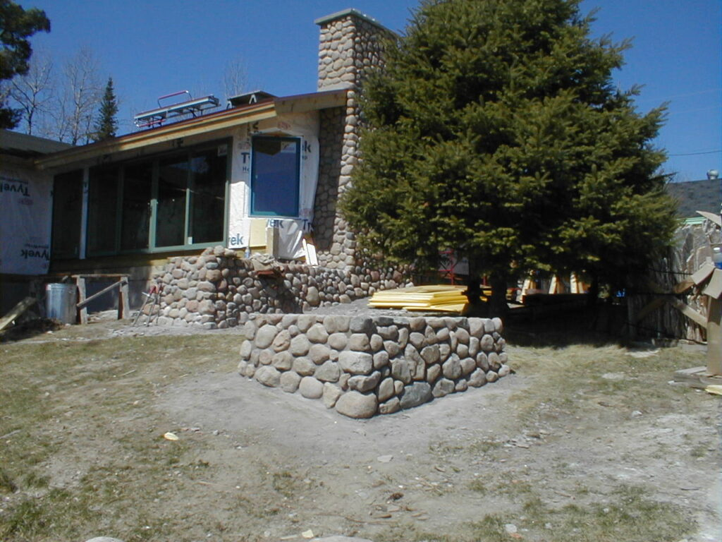 Stone work on renovation project in project