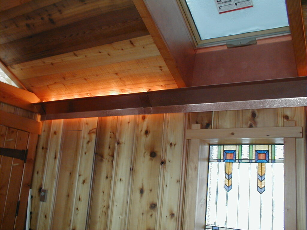 Copper valance for indirect lighting
