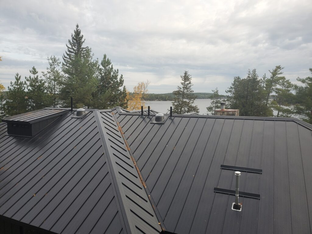 Standing seam metal roof, Ely lake home