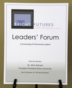 Leaders' Forum welcomes keynote speaker Dr. Wim Wiewel, President of Portland State University.