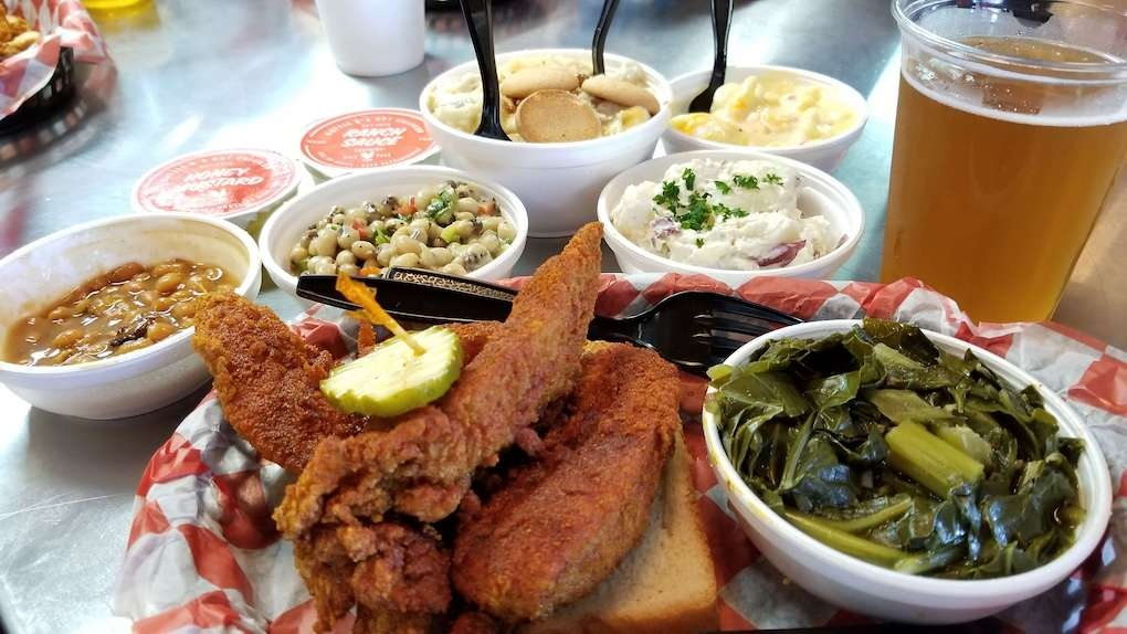 Spread of food at Hattie B's
