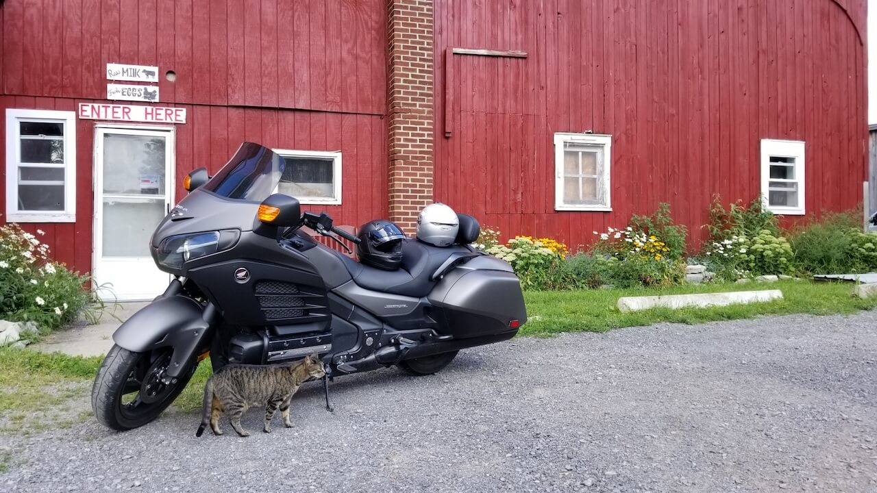 Black and Gray Honda F6B parked outside a Red Barn