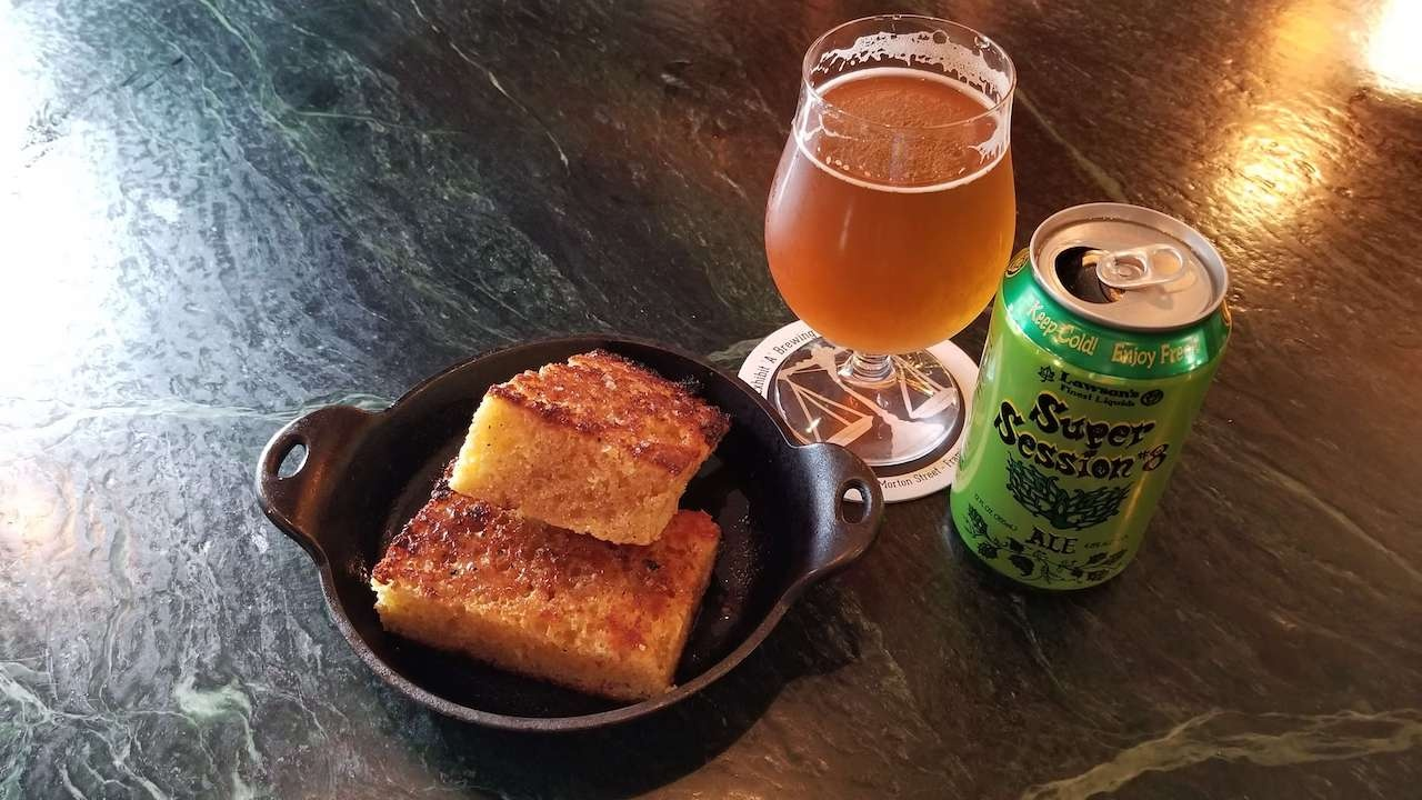 14th Star Beer and Corn Bread from Smokin Butt's Barbecue Burlington VT