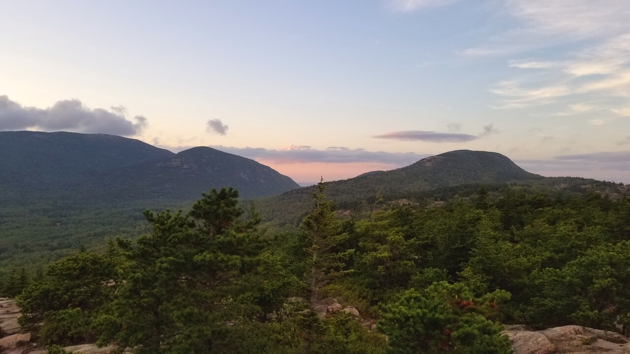 Sunset over mountains Acadia National Park