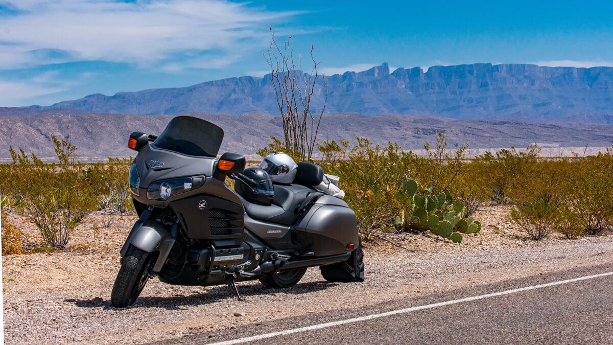 Honda Goldwing F6B in front of Mountains Big Bend National Park