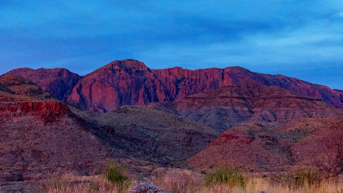 Red colored mountains Chihuahuan Desert Big Bend National Park