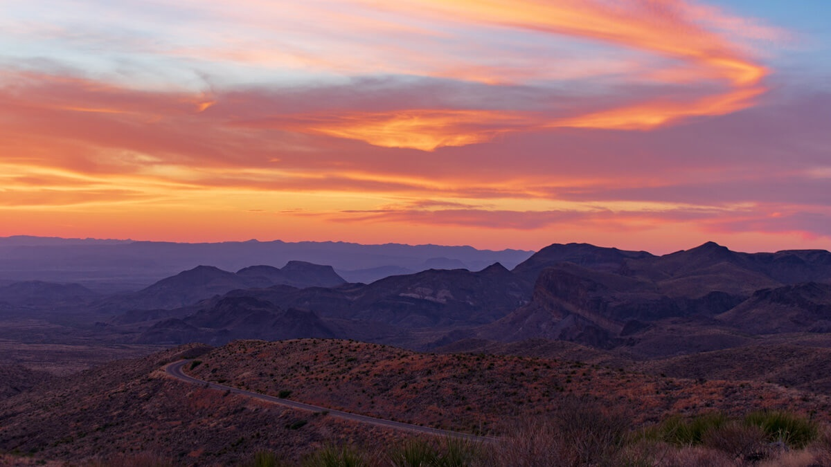 Sunset over the Chihuahuan Desert Big Bend National Park