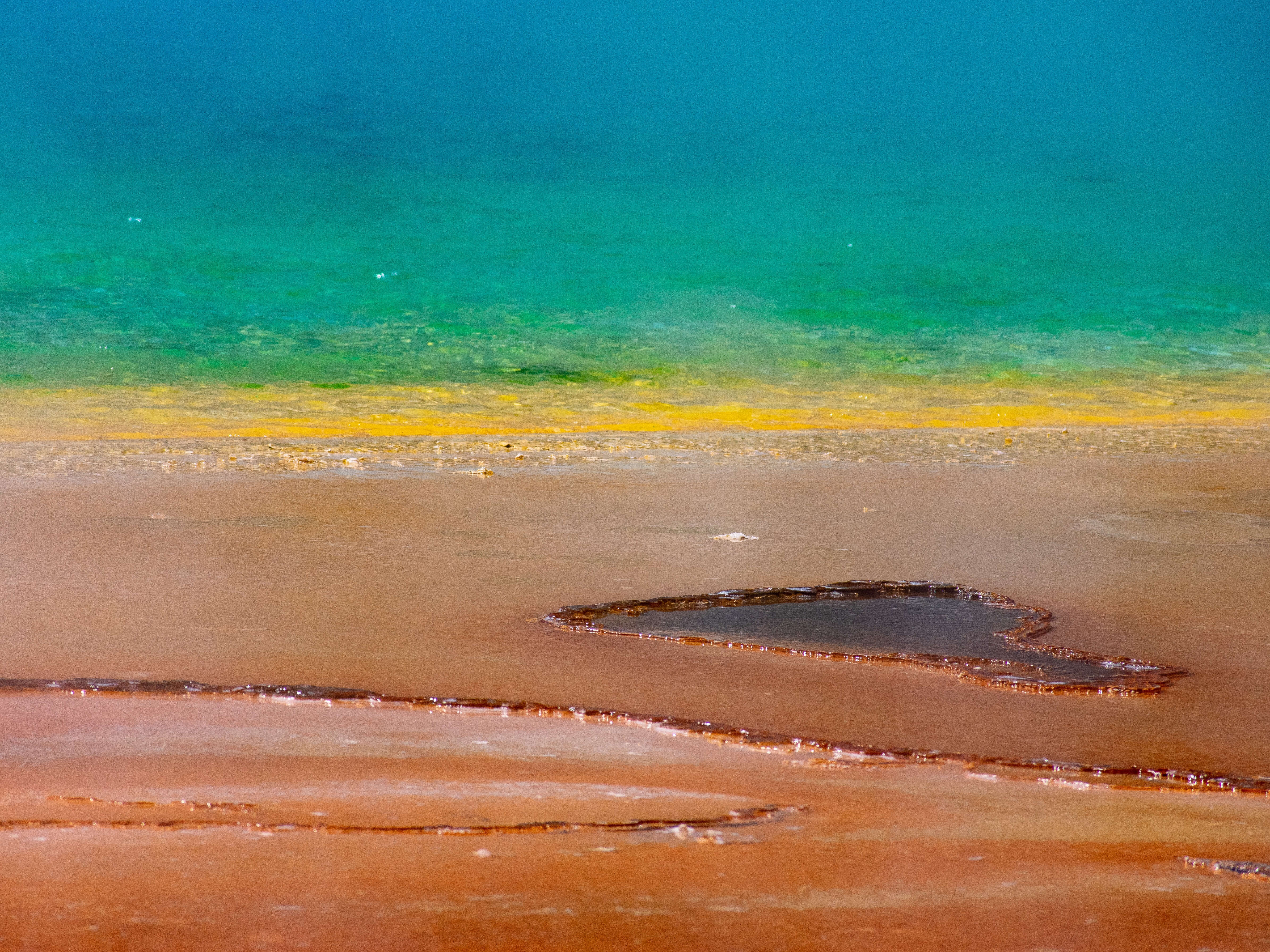 Color changes of Grand Prismatic Spring Yellowstone