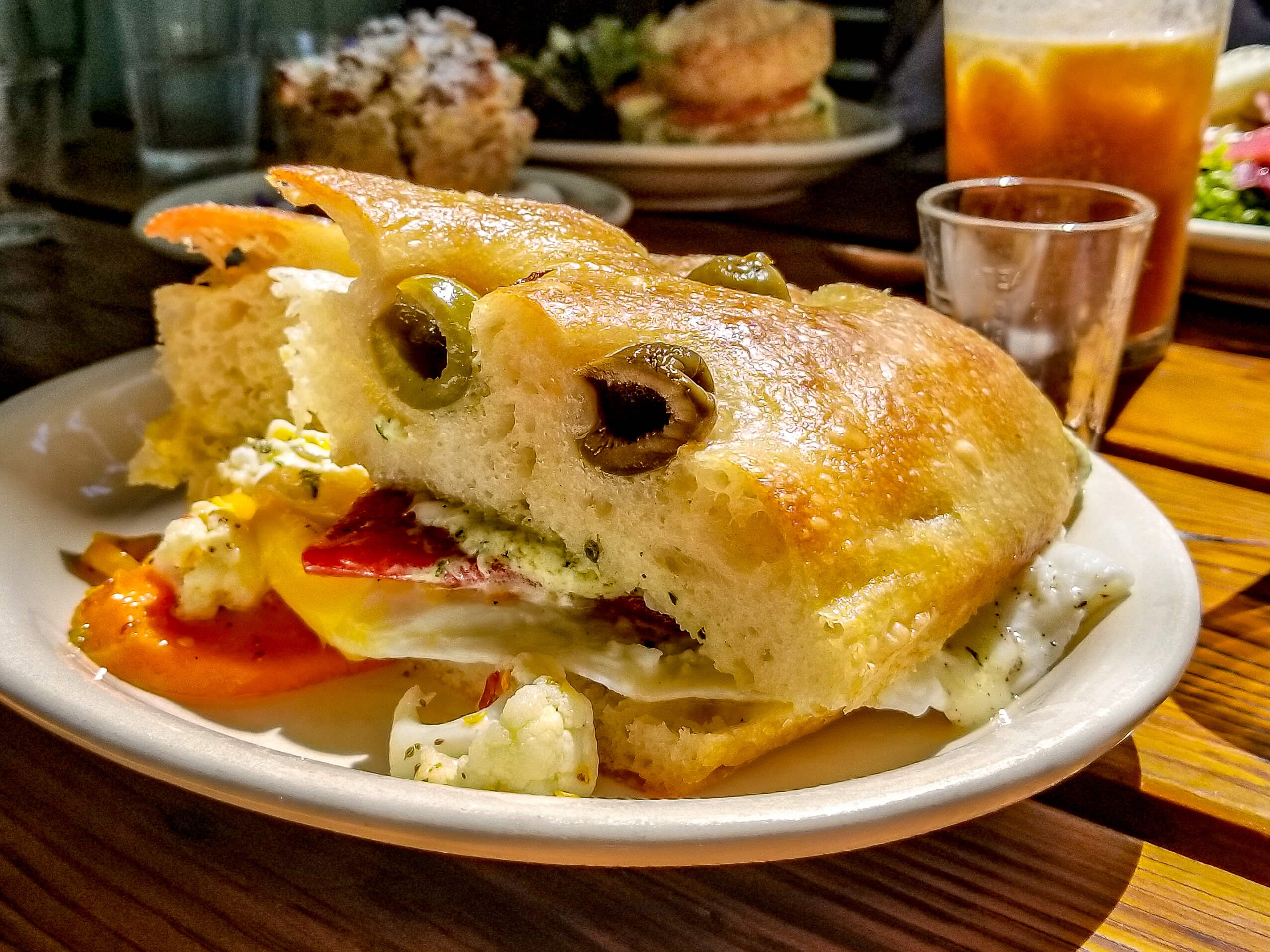 Milk Glass Brunch Sandwich with Olives