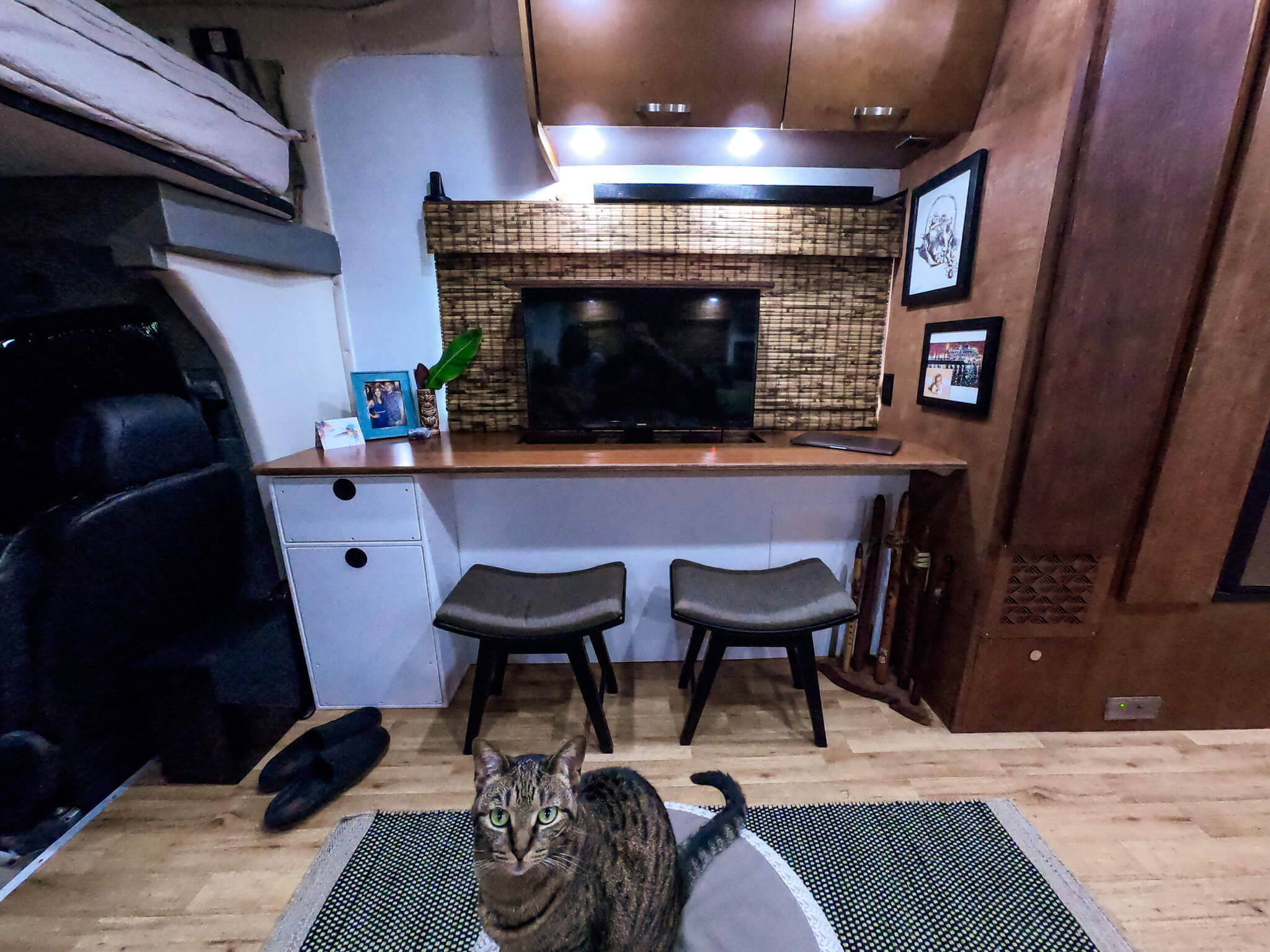 Custom RV desk with TV entertainment system