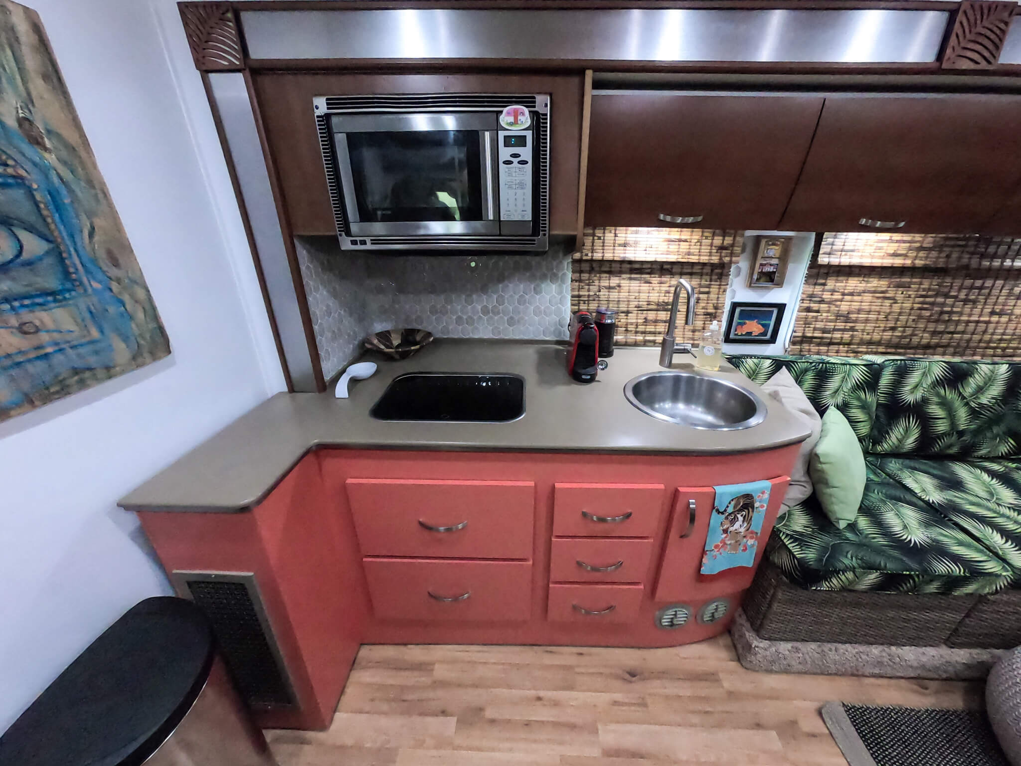 RV Kitchen remodel coral cabinets