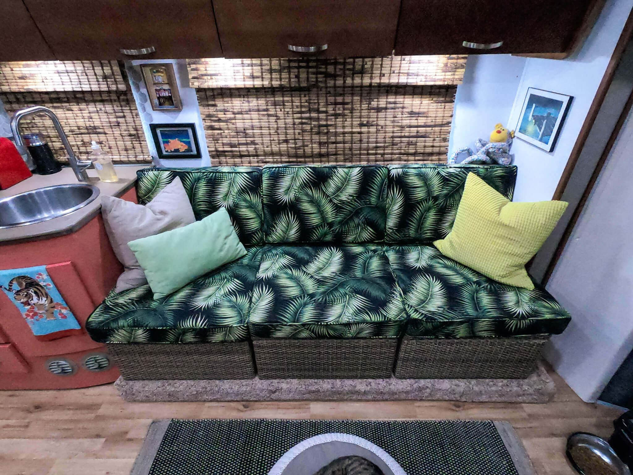 Tropical custom couch RV remodel