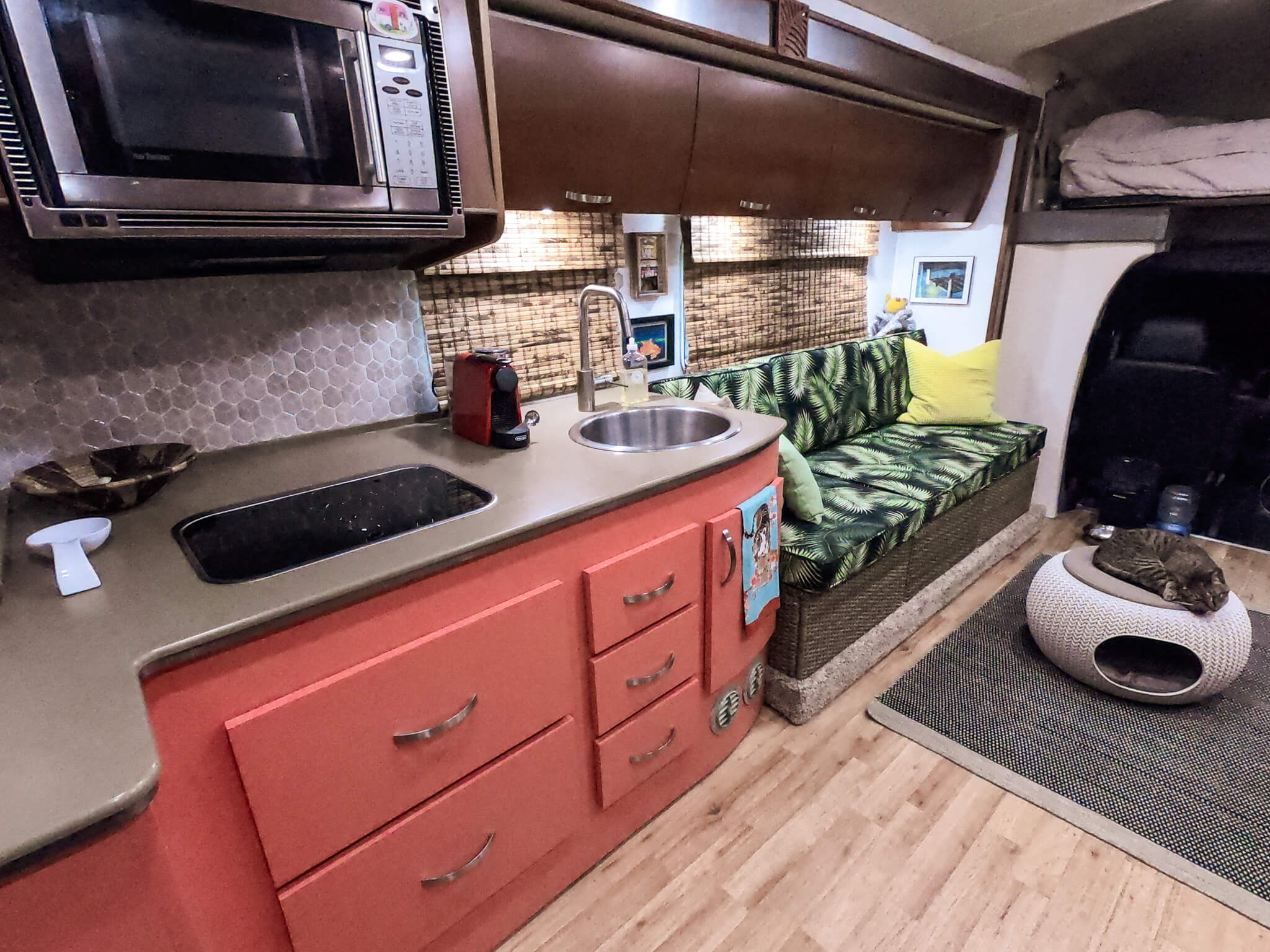 RV Kitchen and couch area RV remodel