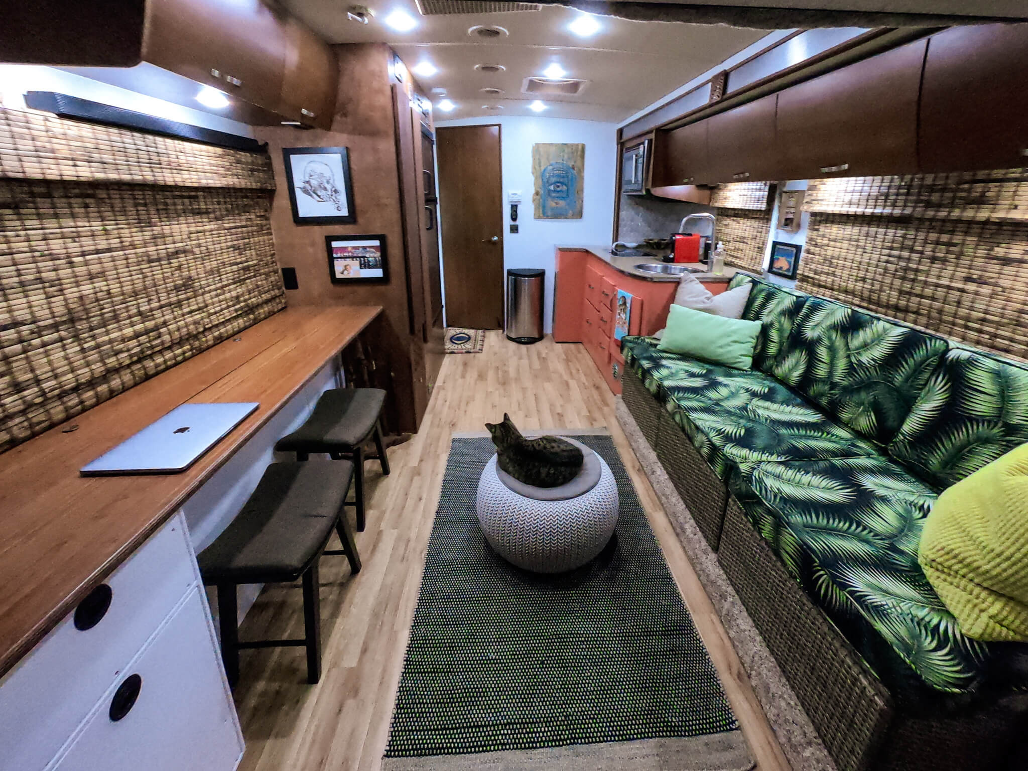Interior of our Class C RV Tropical Theme