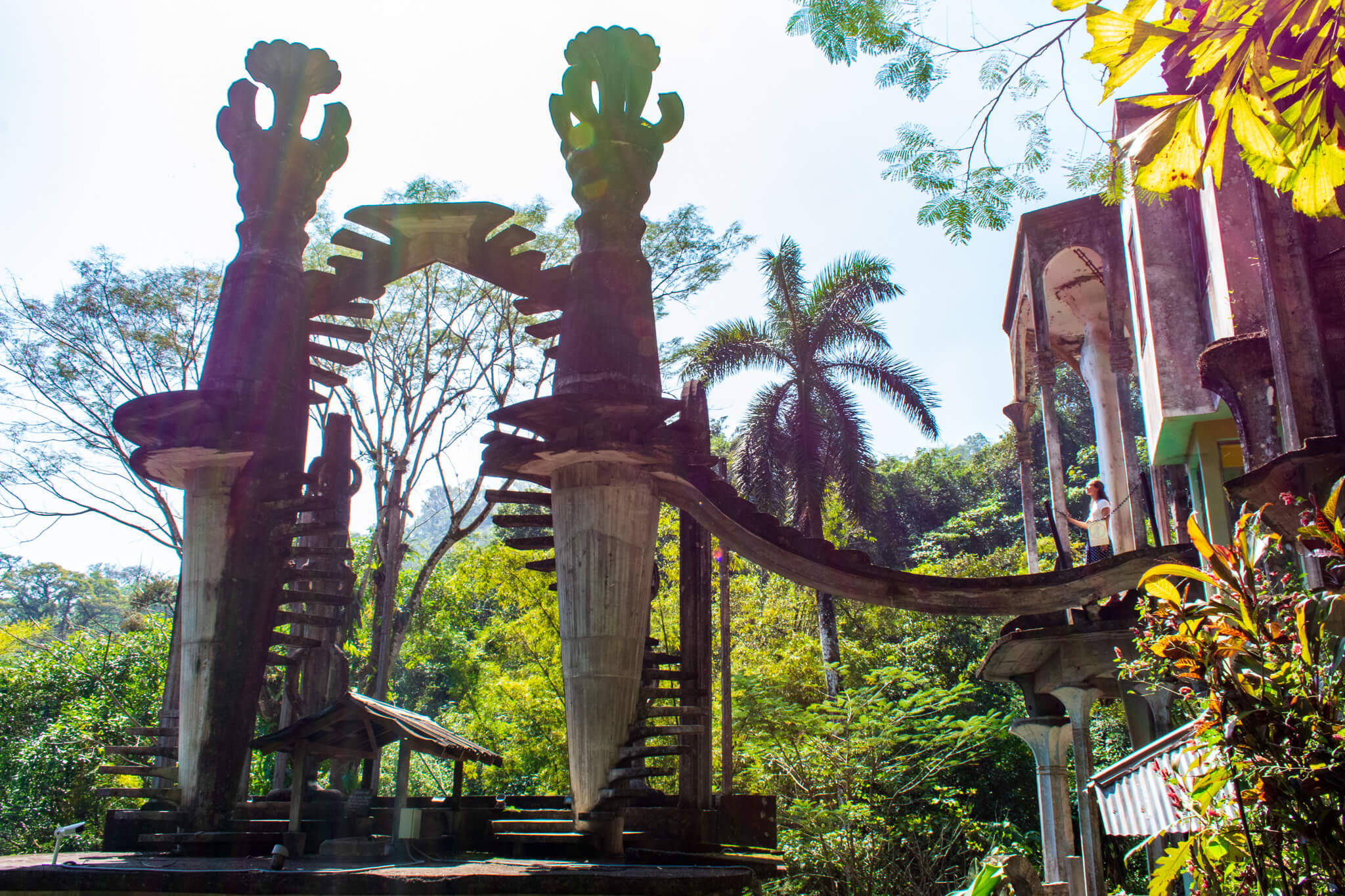 Surrealist sculpture in jungle at garden of Los Pozas de Xilitla, Mexico.