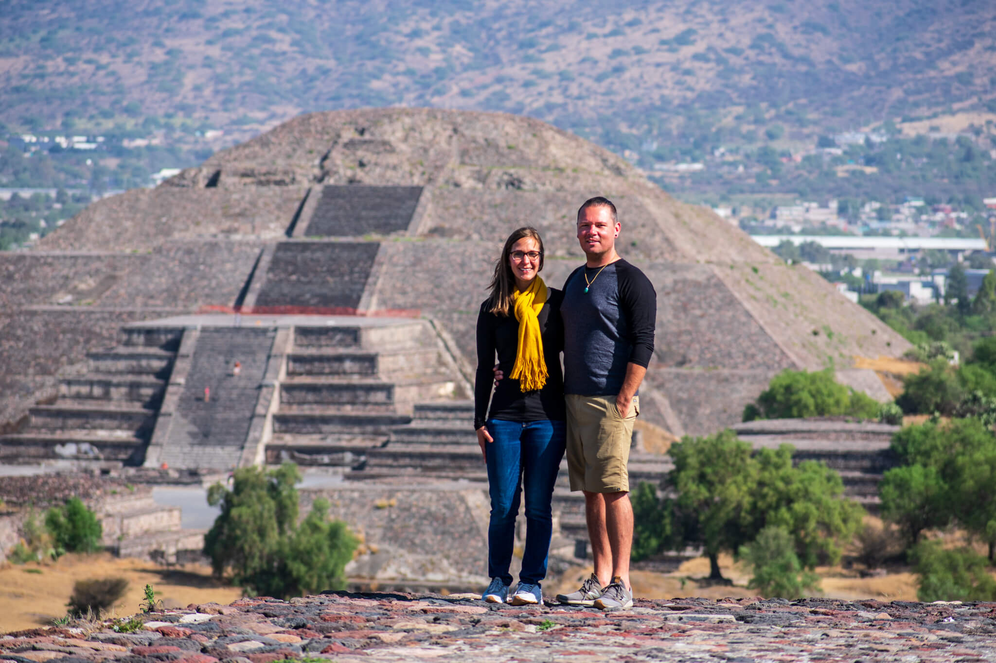 Liz and Dennis in front of Pyramid of the Moon Eat See RV